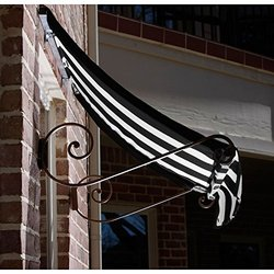Awntech Window/Entry Awning - Black/White - Size: 3/8'W x 2'H x 3'D
