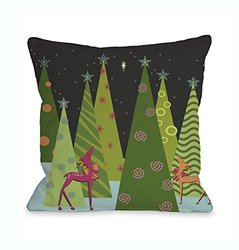 "Bentin Christmas Tree Parade Throw Pillow - Black/Multi - Size: 16""x 16"""