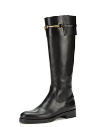 Gucci Horsebit Buckle Leather Riding Boot - Black - Size: 8.5