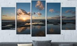 "5-Piece Sunset at La Perhouse Beach Seashore Canvas Artwork 60""x32"" - Blue"