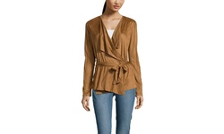 Young Threads Women's Faux Suede Wrap Jacket - Brown - Size: Medium