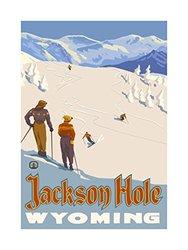 """Northwest Art Jackson Hole Wyoming Skier Slopes Print - Size: 18"""" x 24"""""""