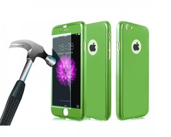 InTech Full Body Hard Case with Tempered Glass for iPhone 6/6s - Green