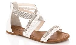 Rasolli Women's Braided-Strap Fashion Sandals - Beige - Size: 10