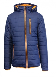 Harvic Men's Puffer Jacket with Detachable Hood  - Navy/Orange - Size: Large