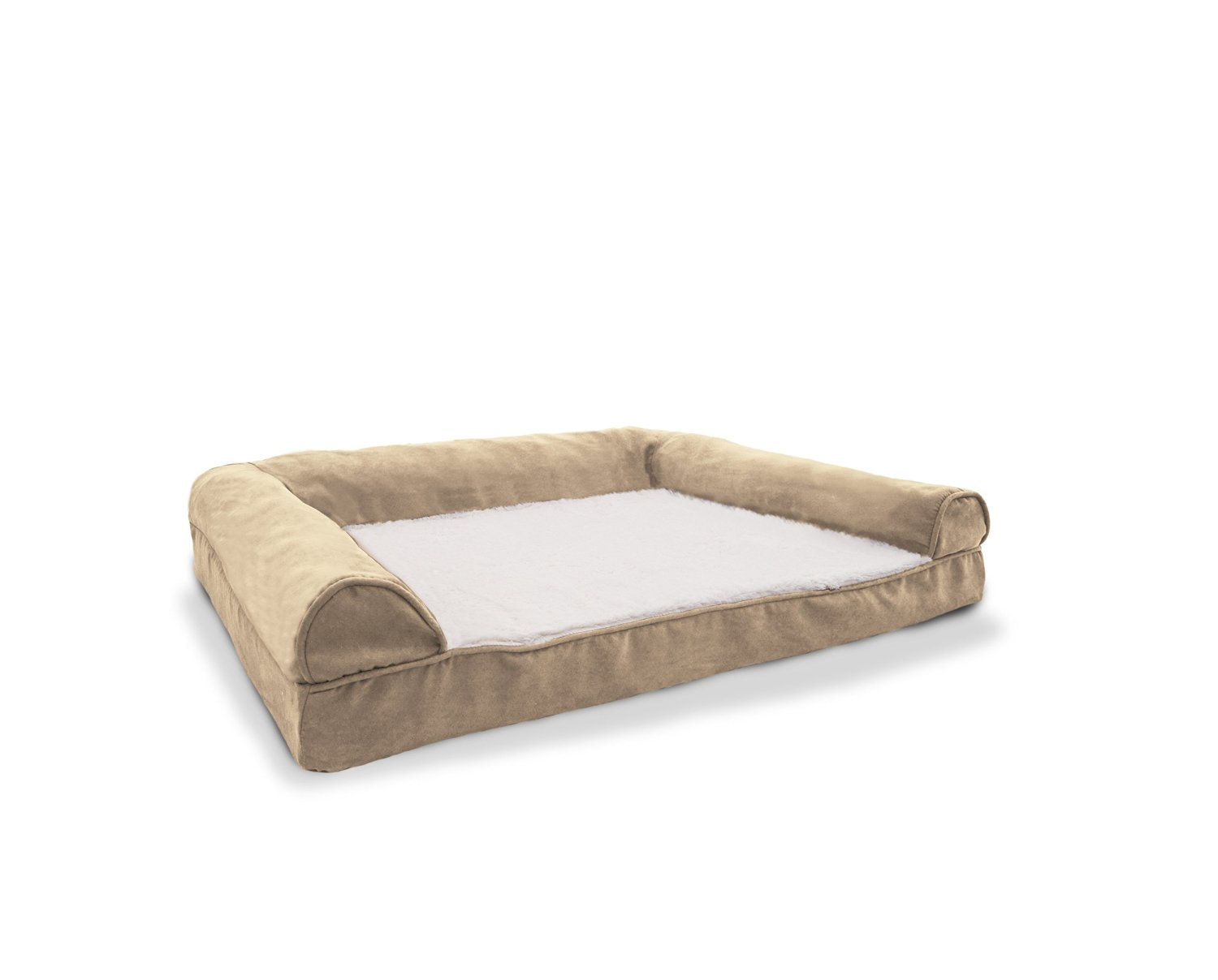Furhaven Pet Products Plush And Suede Sofa Pet Bed Clay Size