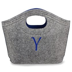 Cathy's Concepts Personalized Felt Carry-All Tote, Grey, Letter Y