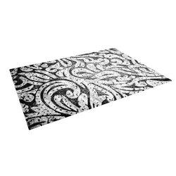 Kess Alveron Outdoor Floor Mat - Monochrome Paisley - Size: 5' x 7'