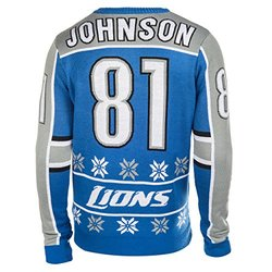 Klew NFL Detroit Lions Johnson C Player Ugly Sweater - Blue - Size: Small
