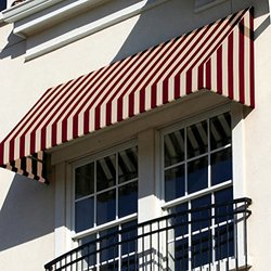 Awntech 3-Feet New Yorker Window/Entry Awning, 56-Inch Height by 48-Inch Diameter, Burgundy/Tan