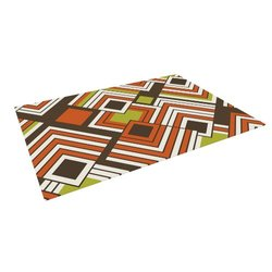 "Kess InHouse Jacqueline Milton ""Luca-Coffee"" Brown Orange Outdoor Floor Mat/Rug, 5 by 7-Feet"