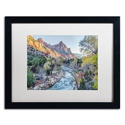 Trademark Art Zion Watchman Canvas Art - White Matte/Black Frame
