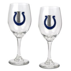 Great American NFL Indianapolis Colts Wine Glass Set of Two - Size: 14 Oz