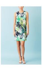 Emma & Michele Sleeveless Palm Print Ponte Dress - Green - Size: M