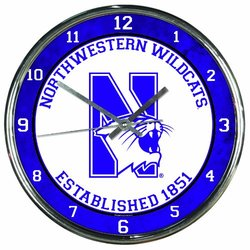 NCAA Northwestern Wildcats Chrome Clock