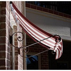 Awntech 4-Feet Charleston Window/Entry Awning 44 by 36-Inch - Burgundy/Tan