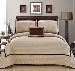 Chic Home 8 Piece Mesa Hotel Collection 2 Tone Banded Quilted Geometrical Embroidered, Quilt In A Bag, Includes Sheets Set Quilt Set Shams And Decorative Pillows Included, King, Beige