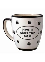 Tumbleweed Pottery 'Home is where your cat is' Pet Coffee Mug