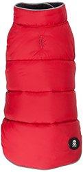 """Fab Dog Reversible Puffer Vest Dog Jacket, Skull Red/Black, 10"""" Length"""
