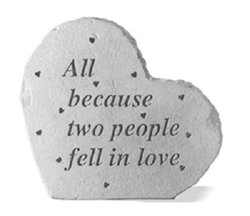 All Because Two People Fell In Love - Small Heart Memorial Stone