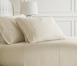 Luxury Linens Premium Ultra Soft Stripe Design 4 Piece Bed Sheet Set