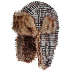 Dakota Dan Trooper Ear Flap Cap w/ Faux Fur Lining Hat - Bold Stripe Gray