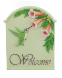 Ibis & Orchid Hummingbird Trumpet Welcome Sign