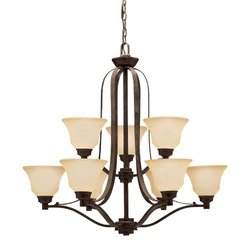 1784CST Langford 9LT 2-Tier Chandelier, Canyon Slate Finish with Dusty Citrine Glass