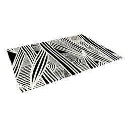 "Kess InHouse Emine Ortega ""Graphique Black"" Outdoor Floor Mat/Rug 5 by 7ft"