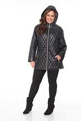 Womens Plus Size Puffer Coat: Black/3X