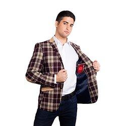 Elie Balleh Brand Men's Slim Fit Blazer: Burgundy/3XL
