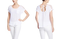 Short Sleeve Blouse with Shoulder Detail - White - Size: XL