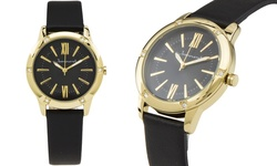 Jeanneret Women's Watch - Black Band/Black Dial Gold