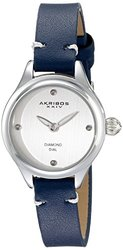 Akribos XXIV Ladies Diamond Dial Genuine Leather Strap Watch AKGP750BU