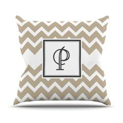 """Tan Chevron Monogram Letter """"P"""" 18""""x18"""" Outdoor Throw Pillow - Tan/White"""