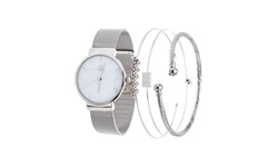 Fortune NYC Women's Stainless Steel Watch and Jewelry Set