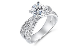 Criss Cross Engagement Ring Made with Swarovski Elements Crystals - Size: 7