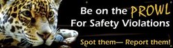 "Accuform Signs MBR804 Motivational Safety Banner, Legend ""BE ON THE PROWL FOR SAFETY VIOLATIONS - SPOT THEM-REPORT THEM!"", 28"" Length x 8-ft Width, Reinforced Vinyl with Metal Grommets"