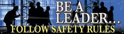 "Accuform Signs MBR813 Motivational Safety Banner, Legend ""BE A LEADER...FOLLOW SAFETY RULES"", 28"" Length x 8-ft Width, Reinforced Vinyl with Metal Grommets"