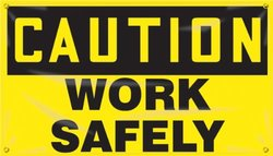 """Accuform Signs MBR403 Motivational Safety Banner, Legend """"CAUTION WORK SAFELY"""", 28"""" Length x 4-ft Width, Reinforced Vinyl with Metal Grommets"""