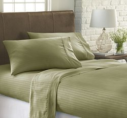 ienjoy Home 4 Piece Home Collection Premium Embossed Stripe Design Bed Sheet Set, Queen, Sage