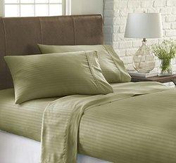 ienjoy Home 4 Piece Home Collection Premium Embossed Stripe Design Bed Sheet Set, Queen, Sage