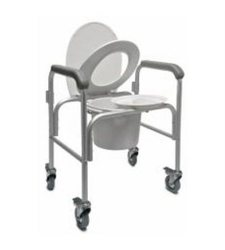 Lumex 3-in-1 Aluminum Commode - Back Bar and Casters