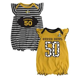 NFL Super Bowl 50 Girls Creeper Set - Gold - 24 Months - 2-Pack