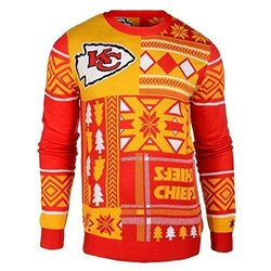 NFL Kansas City Chiefs Patches Ugly Sweater, Red, Small