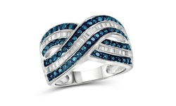 Jewelonfire Women's SS 1CT Diamond Crossover Ring - Blue/White - Size: 6