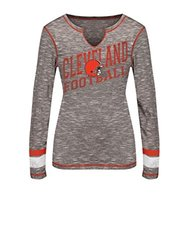 VF LSG NFL Women's Split Crew Neck Tee - Brown Staccato/Fire Red - Size: M