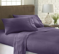 ienjoy Home 4 Piece Home Collection Premium Embossed Stripe Design Bed Sheet Set, Queen, Purple