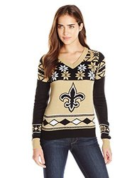 NEW ORLEANS SAINTS WOMEN'S BIG LOGO V-NECK SWEATER SMALL
