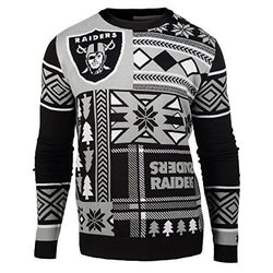 Klew NFL Oakland Raiders Men's Patches Ugly Sweater - Black - Size: Small